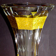 Moser Amazonian Big & Heavy Cut Crystal Vase w/Gilt Frieze