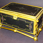 Fabulous Large Guttin Bronze Box or Casket w/Incised Polychrome Slate Panels