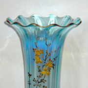 "Large 14"" French Blue Opalescent Vase w/gilt Roses"