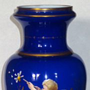 Large Cobalt Cased Enameled Art Glass Vase w/Cherub