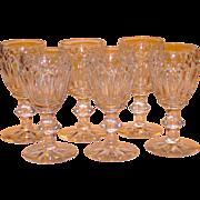 Set/6 Ca.1920 Scarce signed Steuben Cut Glass Wines