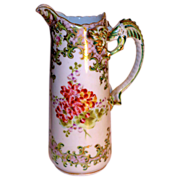 Limoges Hand-Painted French Tankard PItcher /Dragon Handle