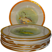 Set/8 Royal Worcester for Tiffany & Co. HP Fish Aquatic Plates by C. Johnson