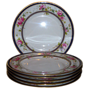 HP Furnivall for Spode Best Quality Service Plates w/Gilt, Roses, Cobalt, & Jewels