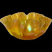 L. C. Tiffany Favrile Glass Finger Bowl in Stretch Iridescent Gold Favrile