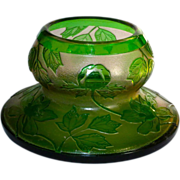 Val St Lambert Cameo Floral Vase Art Deco w/ Orig. Label