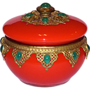 Czech Art Deco Glass and Brass Jeweled Jar in Tomato Red