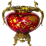 Massive Cranberry Bohemian Centerpiece Figural Gryphons, Lizard, Etc.