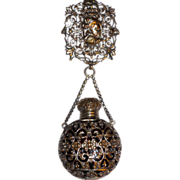 Continental Silvered & Gilt Bronze Chatelaine Cranberry Glass Perfume w/Figural Belt Clip