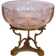 Fine Neoclassical French Bronze Mounted Engraved Crystal Bowl w/Paw Feet