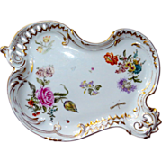 Large D&C Limoges Hand-Painted Rococo Tray w/Lavish Meissen Florals, Bugs, & Gilt