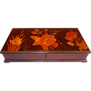 Very Fine & Large Mahogany Parquetry Art Nouveau Jewelry Box