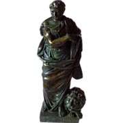 Large Italian Classical Bronze Scholar Philosopher w/Lion