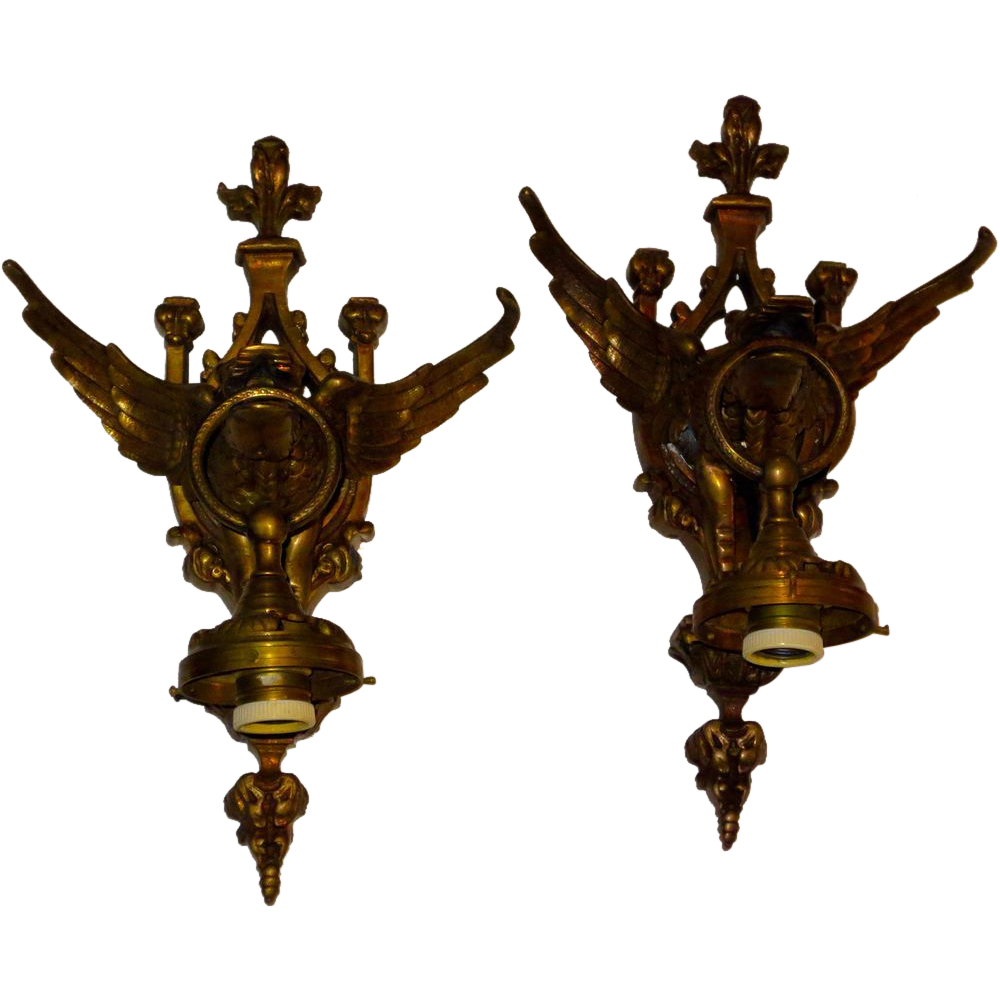 Quality Wall Sconces : Large Antique Gothic Gargoyle Dragon Wall Sconces Fine Quality from lionsgate on Ruby Lane