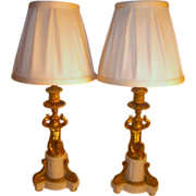 Fine Antique Ormolu Bronze & Marble Cherub French Boudoir Lamps