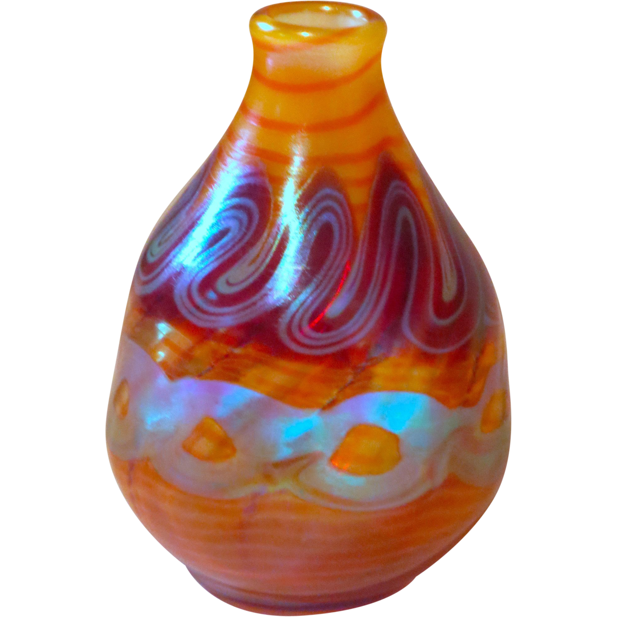 decorated opalescent art glass vase with iridescent. Black Bedroom Furniture Sets. Home Design Ideas