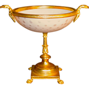 Fine Ormolu Mounted French Opaline Bowl w/Eagle Heads & Paw Feet
