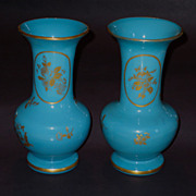 Pair Blue Opaline Signed Baccarat Gilt Baluster Ca. 1870 Vases
