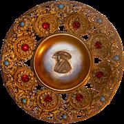 Renaissance inspired Jeweled Bronze/Brass Bowl w/Portrait