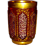 Bohemian Cranberry Cut Glass Tumbler Gilt, Enamel, & Cut for Islamic Market