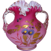 Peachblow Satin Decorated Art Glass Vase w/Gilt & Florals