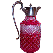 Cranberry cut to Clear Large English Victorian Claret Jug