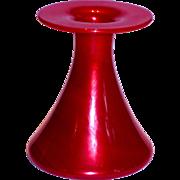 Paperweight Czech Loetz Apple Red Art Glass Vase Internal Iridescence