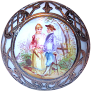 Dresden Silver Overlay Hand-Painted Parasol Handle or Topper