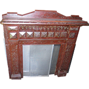 Ca. 1870 Faux Marbled Early Folk Art Wooden Fire Surround Small Mantel