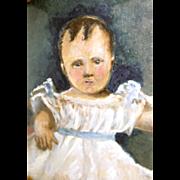 1829 Folk Art Portrait of Little Boy in Engraved Case