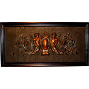 Ca. 1890 Architectural Relief Mythological Sea Creatures Wall Sculpture in Copper