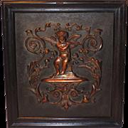 Cherub Angel Copper Relief Architectural Plaque in Wood Frame