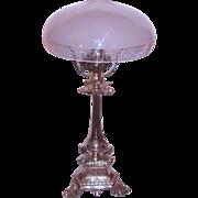 Silvered Lamp w/ Hawkes Cut Glass Greek Key Shade