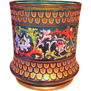 Large Bohemian Enamel & Gilt Colorful Vase