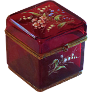 Ruby Glass with Enamel Florals Cut Glass Box Casket