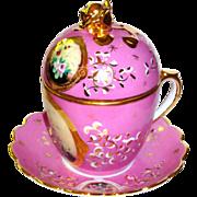 European 3 pc. Pot de Creme in Pink w/gilt & Florals, Rose Finial