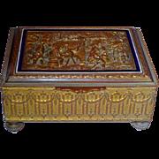 Grand Tour French Bronze & Enamel Casket Box w/Scenic Lid