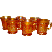 SET/6 Northwood Carnival Singing Birds Mugs in Marigold