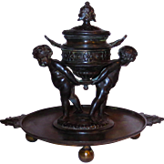 French Classical Bronze Inkwell w/ Full Figure Cherubs & Grotesque Masks