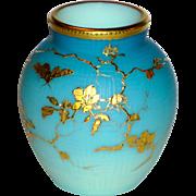 Fine Satin Glass Cameo Basket Weave Shaded Blue Vase w/Gilt Bug & Florals