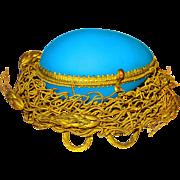 Palais Royale Blue Opaline Egg Casket in Ormolu Nest Grand Tour Gem