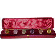 Set of 6 Gemstone Carved Skulls in Fitted Leather Case Semi-Precious Variety