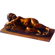 Victorian Sleeping Child Sculpture Paperweight for Mourning or Memorial