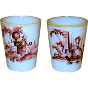 George III 1820 Fiery Opalescent Glass Memorial Mourning Tumblers