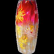 "Moser Mt. Joy (Legras) 12"" Cranberry w/Mums & Gilt Vase"