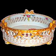Dresden Reticulated Porcelain Ferner w/Meissen Florals and Gilding