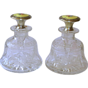 Pair Sterling, Guilloche Enamel, & Cut Glass Perfume Bottles w/Roses