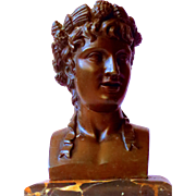 Ca. 1880 Fine Classical Bronze Bust on Marble Base