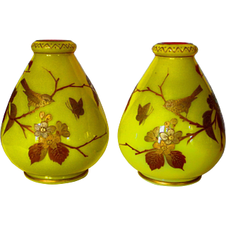 Pr. Harrach Imperial Yellow Enamel & Gilt Cased Vases w/Birds