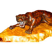 Outstanding Japanese Meiji Carved Wooden Tiger on Base